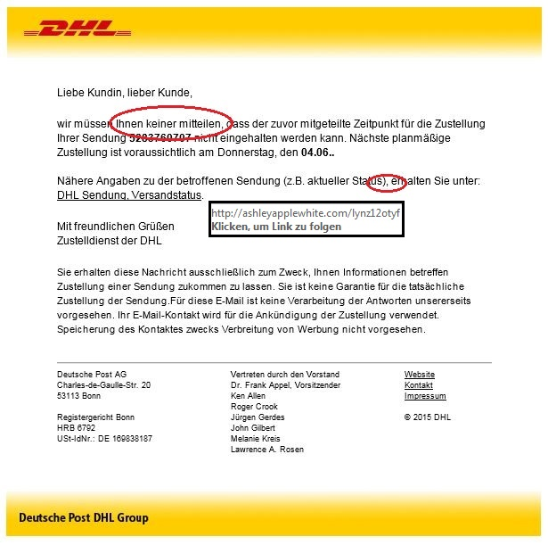 phishing dhl ist opfer von spam welle ihr versandlogistiker. Black Bedroom Furniture Sets. Home Design Ideas