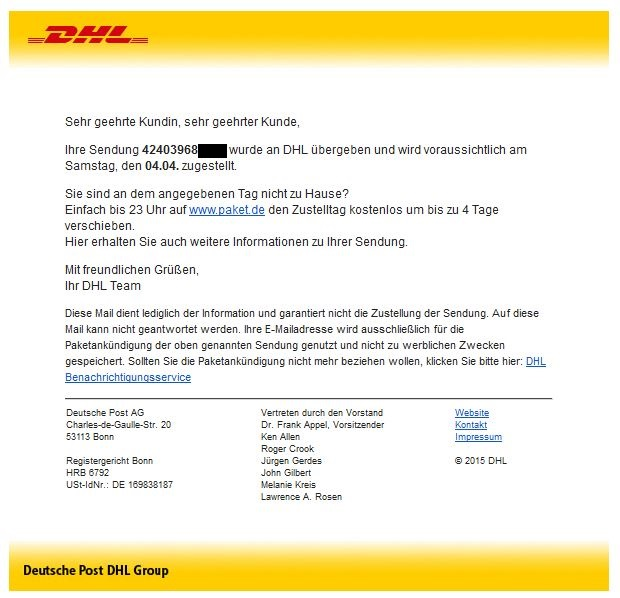 Phishing: DHL falls prey to spam wave - Versandlogistiker