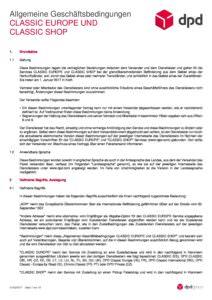 AGB DPD CLASSIC EUROPE & CLASSIC SHOP - Grundsätze - Versandlogistiker